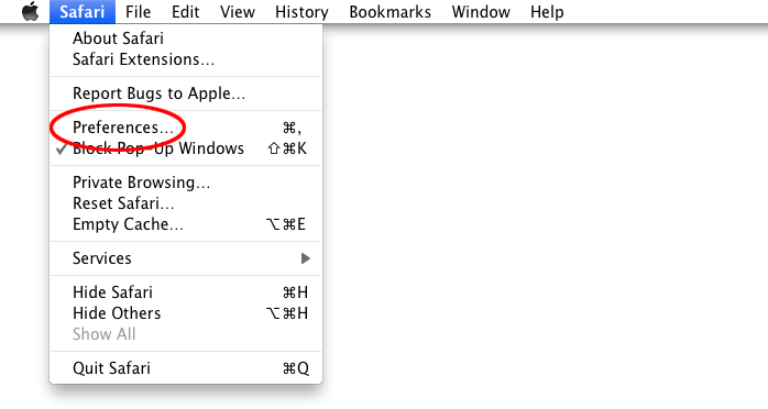 "Open the Safari and select ""Preferences"" menu to open the Preferences window."