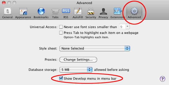 "In the Preferences window, select the ""Advanced"" tab and check the ""Show Develop menu in menu bar"" checkbox."